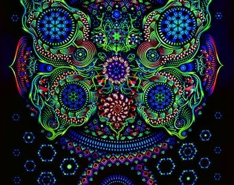 Psy backdrop 'Butterfly Effect' UV blacklight active fluorescent psychedelic tapestry  wall hanging decoration goa party visual art