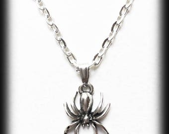 Gothic Spider Charm Necklace, Silver Spider Pendant, Alternative Jewelry, Handmade Necklace, Halloween Jewelry, Gothic Jewelry