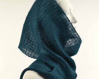 Handwoven teal blue scarf, in kidmohair and tencel. Kidmohair sheer scarf, woven by hand, peacock blue color.