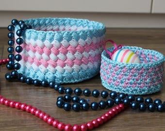 Set of 2 crochet baskets, Crochet bowls, Easter decor, Crochet jewelry box