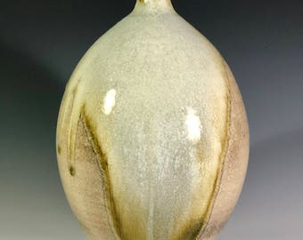 Shino and Wood Ash Glazed Porcelain Bottle