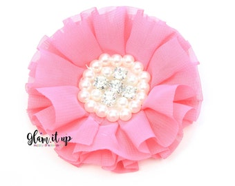 Chiffon Flowers-Pearl chiffon flowers-ruffle chiffon flowers-3.5 in flowers-headband flowers-flowers for headband-diy headband-Shocking pink