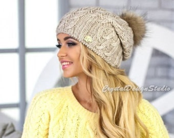 More colors! Winter hat Wool hat for women Knitted hat pompon Wool winter hat White Chunky Knit Hat Wool hat Beanie Fall Apparel