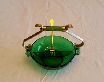 antique emerald green divided etched glass serving dish / bowl w/ brass and bakelite  handle & fork - vintage retro art deco nouveau