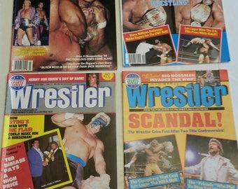 4 vintage pro wrestling magazines - the wrestler 1986 - 1988  - wwe wwf awa ecw nwa sports von erich steve williams andre giant dibiase #i