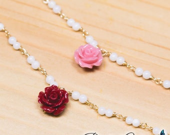 Handmade BJD Coral Rose Necklace | SD, MSD | Doll Accessory