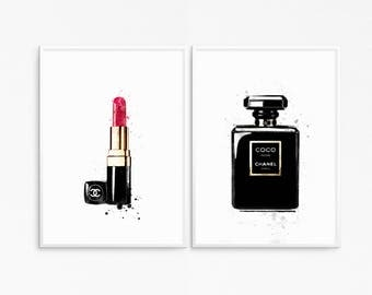 Pair of posters. Coco noir poster. Watercolor perfume. Lipstick poster. Fashion poster. Printable perfume bottle. Printable makeup.