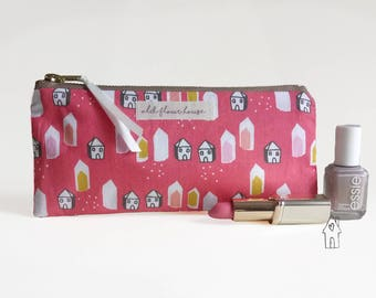 Small Makeup Bag, Pencil Case, Zipper Pouch, House Print, Brush Holder, Make Up Storage, Cosmetics Bag, Handbag Organiser, Old Flour House