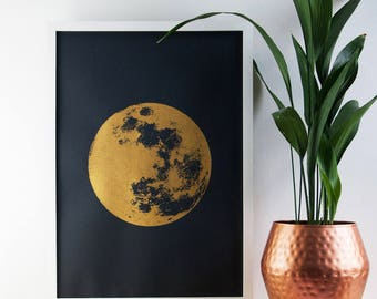 Large Moon Print, Gold Print, Realistic Moon, Boho, Bohemian, Poster, A2 Art Print, Prints, Screenprint, Gift Idea, Print, Wall Art