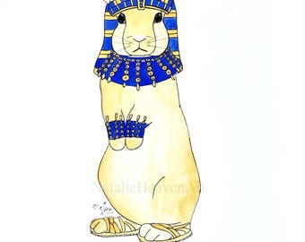 Egyptian Rabbit Print 'Tutankhabun' from Original Rabbit Painting, Rabbit Lover Gift, Rabbit Art, Rabbit Gift, Egypt Tutankhamun, Animal Art