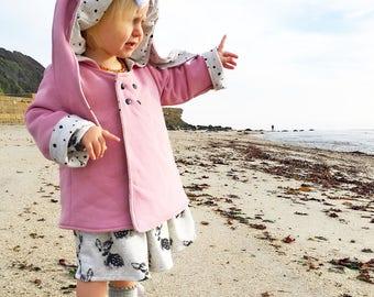 Dotty Dusky Pink Bunny Ear Coat, Kidswear, Baby Clothes, JMW Kids, Toddler, Baby girl, Winter coat, rabbit coat, autumn coat, bunny coat