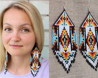 Boho Tribal Earrings, Native American Beaded Earrings, Aztec Earrings, Pyramid Earrings, Large Dangling Earrings, Statement Earrings