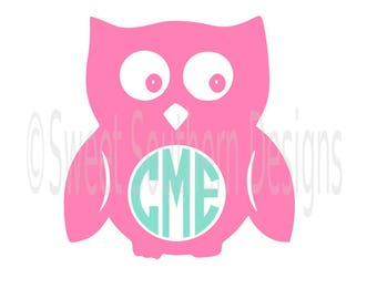 Owl monogram SVG instant download design for cricut or silhouette