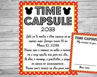 Mickey Mouse Time Capsule Birthday Sign - Wall Art design - Birthday Party Poster Sign - Printable Sign