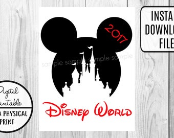 Disney World Castle Vacation - Mickey Mouse Birthday Iron On Shirt Transfer - tshirt - Instant Download 2017
