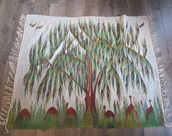 Vintage Handwoven Egyptian Wool Kilim Rug with Fringe. Tree of Life, Garden of Eden, Bird Motif. Throw Rug, Wall Hanging or Tapestry.