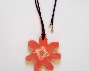 """Pendant """"Flower"""" ceramic necklace / / flower ceramic necklace / / ceramic pendant / / mothers day gift"""