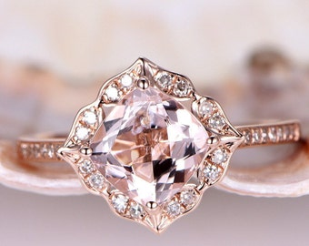 7mm Cushion Morganite Ring Vintage Floral Engagement Ring Rose Gold Diamond Wedding Band Unique Promise Ring Bridal Ring 14K