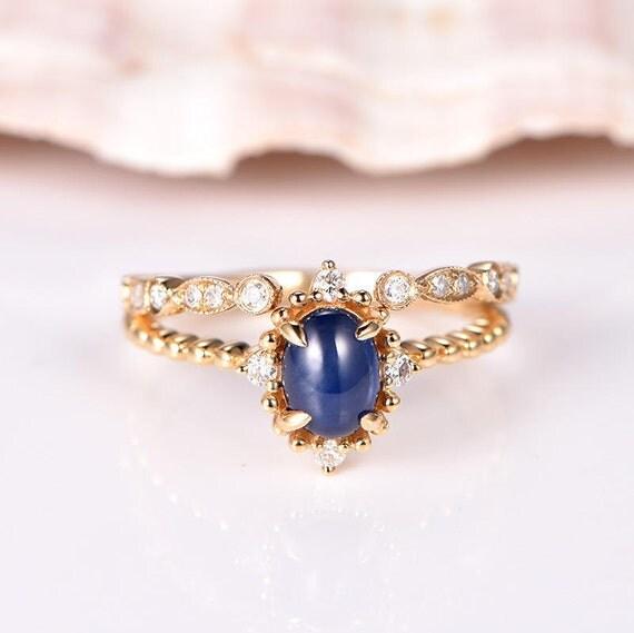 Sapphire Ring Vintage Floral Diamond Halo Unique Art Deco Wedding Band Twist Band 14k Yellow Gold Blue Sapphire Engagement Ring Bridal Set