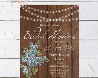 Printable Rustic Floral Bridal Shower Invitation