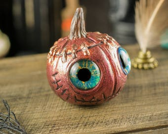Copper Grinning Pumpkin - Fantasy Pumpkin - Halloween Pumpkin - Jack-o-Lantern - 1:12 Dollhouse Miniature