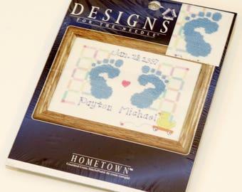 "Janlynn Hometown Counted Cross Stitch Kit, 3051-18, Baby Feet, 5"" x 7"", NEW"