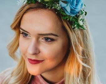 Blue Flower Crown, Blue Flower Headband, Rose Headband, Blue Rose Crown, Free shipping, LaCrown, Blue wedding Rose Crown, flower headband