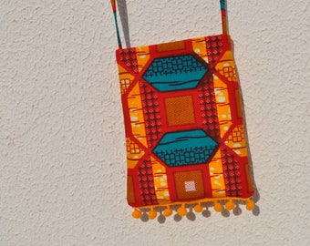 Ethnic Small Cross Body Purse, Authentic African Fabric, Passport Bag, Phone Pouch, Crossbody Bag