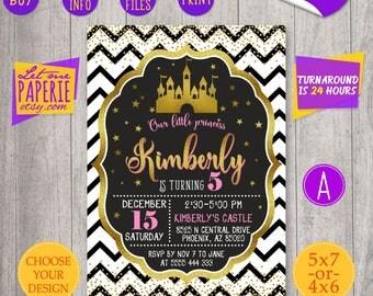 Black and Gold Princess castle birthday invitation, Castle Invitation, Princess party invite, Gold Glitter invitation, Glitter castle invite