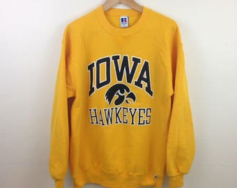 Vintage Iowa Hawkeyes Flock Print 50/50 Russell Athletic Sweatshirt - Size Large - Made in USA