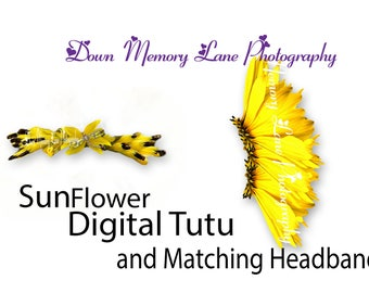 Digital Photography Accessories, Digital Sunflower Tutu, Digital Photography Props, Composite, Tutu, Headband