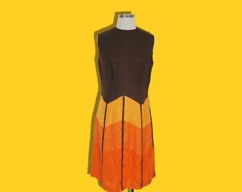 Vintage 60s 70s Orange Mod Dress • Retro Sleeveless Two Tone Dress • Colour Blocking Geometric • Hasso • M Medium L Large