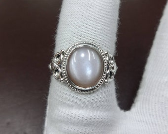 Classic 925 Sterling Silver Moonstone Ring,Size US-6.5