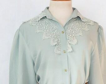 Embroidered blouse//Mint green blouse//80s blouse//Vintage clothing//Vintage Blouse//Blusa//Bluse//Blouse//Bluse//Blusa color mentea