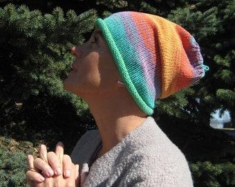 Green summer beanie hat Womens hat Men hat for teen Hipster hat Summer hat Summer beanie Cotton beanie hat Rainbow hat Oversized hat for him