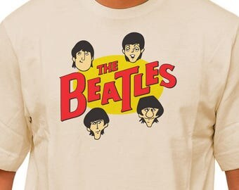 "THE BEATLES Saturday Morning Cartoon logo on 100% cotton T-shirt! The 60's ""Fab Four"" animated series with John, Paul, George & Ringo!"