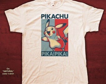 "PIKACHU ""HOPE"" style T-Shirts - pre shrunk 100% cotton, short sleeve t-shirt - Pokemon"
