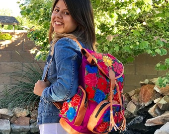 Mexican back pack  Embroidery  leather back pack