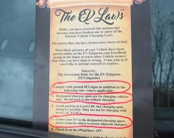The EV Laws - EV Etiquette - WindShieldNotes evhole icehole evse evcharging Tesla Electric Car Vehicle Blocked (30 Brochures & FREE Ship)