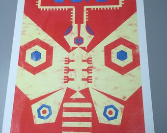 Mothra/3 Color Risograph Print/Poster