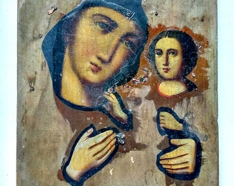 Antique Old Russian Orthodox Icon of the Mother of God, Theotokos, Virgin and Child, Virgin Mary Hand Painting Wood Board 18x15cm