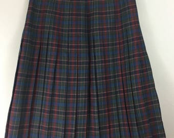 EDINBURGH vintage green red tartan 100% wool pleated skirt UK 18/20 plaid accordion