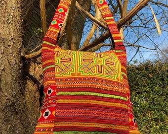 Boho patchwork bag, hippie bag, embroidered bag, Hmong bag, ethnic bag, bohemian bag, festival bag