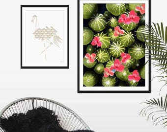 Cactus Print. Cactus Picture. Cactus Art. Cactus Painting. Flowering Cactus. Tropical Art. Green Lili