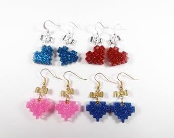 Geeky kawaii pixel heart earrings