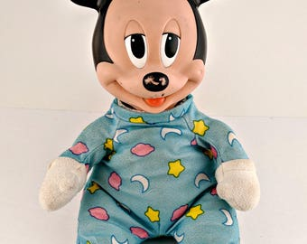 Vintage Baby Mickey Mouse Soft Toy Doll - Rubber Face