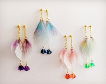 Fairy wings, Fairy Earrings, Shell earrings, Summer earrings