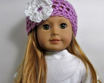 """18"""" Doll Clothes fit American Girl Crocheted Summer Hat with Flower RASPBERRY FROST"""