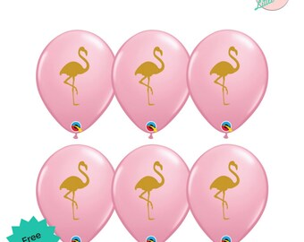 6 x Pink Flamingo Balloons Flamingle Birthday Party Decoration
