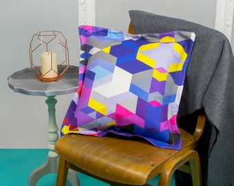 Multicolour Geometric Cushion with Pink Corduroy back